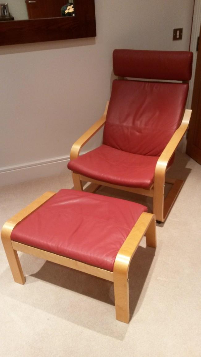 POÄNG Ikea armchair and stool