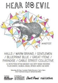 Hear No Evil – brand new music/arts festival for 24 May bank holiday!!!
