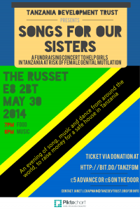 Songs for our sisters: a fundraising concert to help girls refusing female genital mutilation in Tanzania