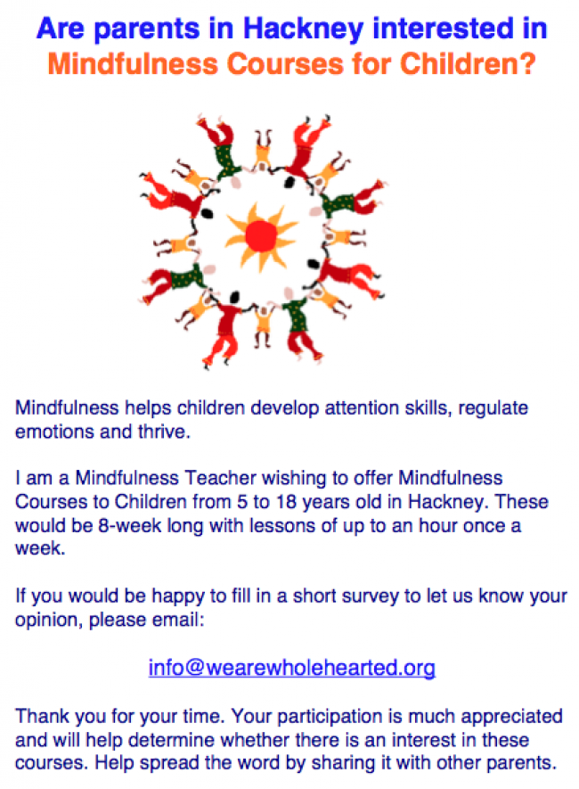 Are parents in Hackney interested in Mindfulness courses for children and young people?